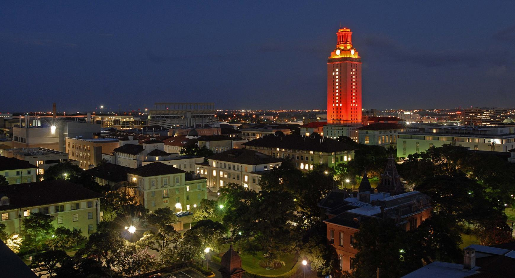 Image of UT Tower Lit with No. 1