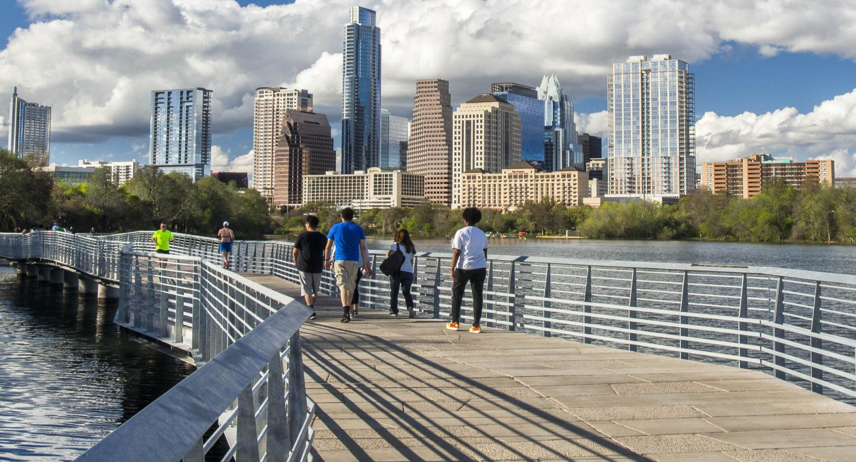 Skyline of Austin from the Hike and Bike Trail