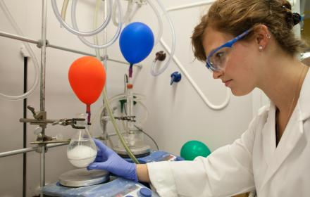 Student working in lab